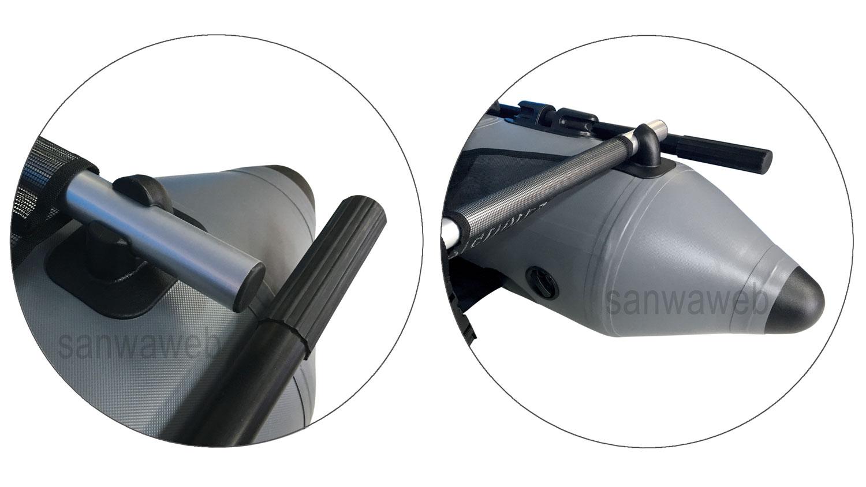 釣り用インフレータブル・フロート(1人チェアー) DJU 170 の前部各拡大