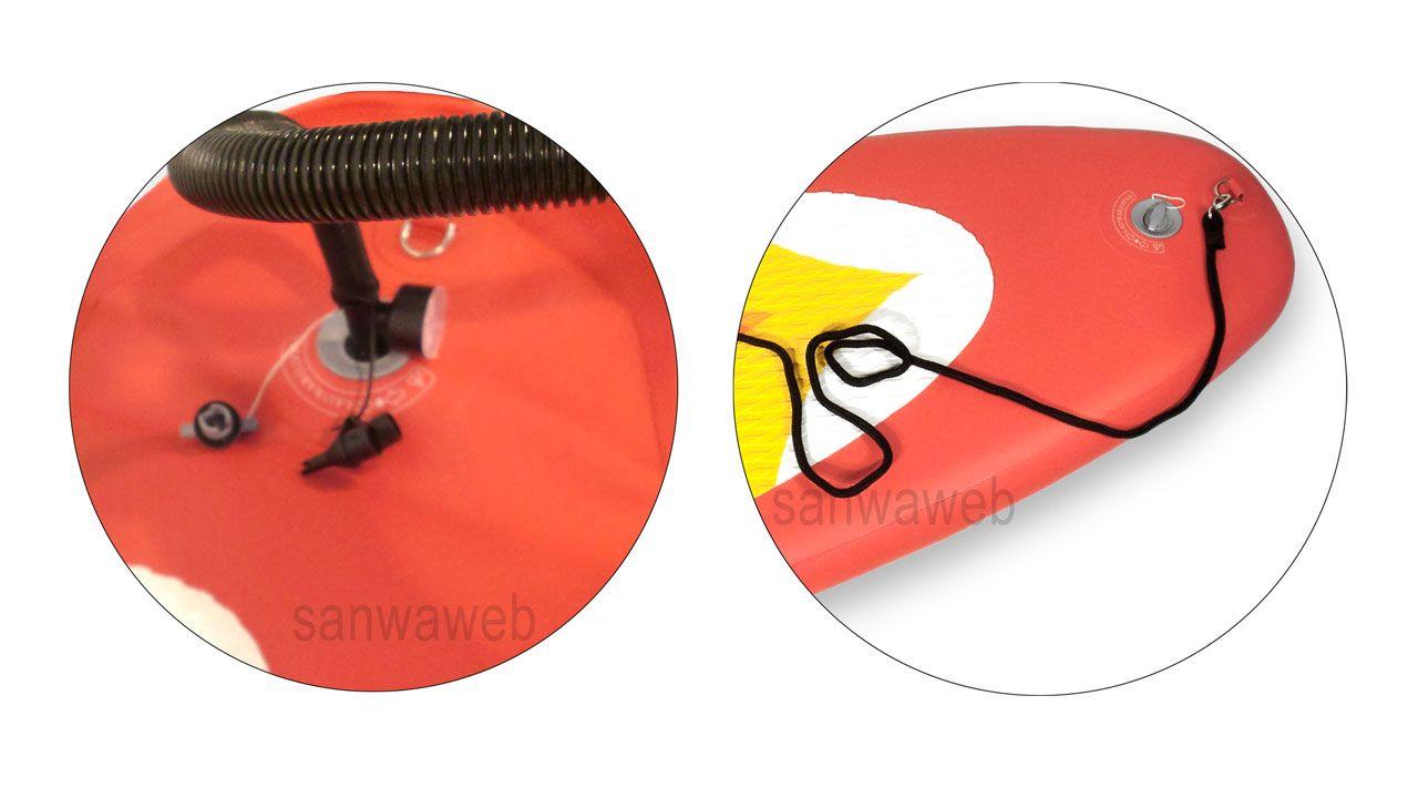 スタンドアップパドル シットダウンカヤック SUP 赤のリージョンコード・スクリューバルブと急速注排気ポンプ(圧力計付)
